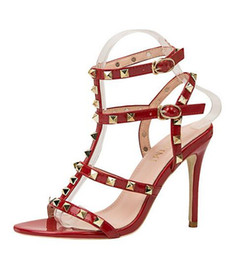 Chinese  European and American style retro sexy nightclub high heel sandals metal rivets sexy patent leather shoes women sandals Roman shoes fashion manufacturers