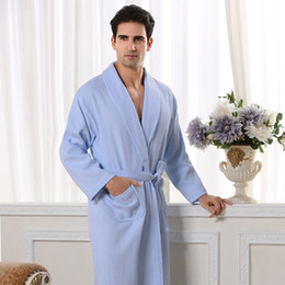 d4bba3d7a5 Men Bathrobe Cotton Waffle Man s Robe Nightgown Male Robe BathrobeBath Fleece  Dressing Gowns Pajamas Sleep Wear White Blue
