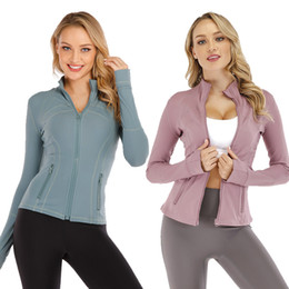 Wholesale blue collar clothes resale online – Yoga jacket women s tight tops zipper stand collar yoga clothes quick drying fitness clothes sports dance clothes