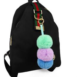 $enCountryForm.capitalKeyWord Australia - Women Cute 3-layers Pompon Fur Balls Key Chains Fashion Colorful Puff Balls Keychains Soft Bag Pendants Decor for Friends Gifts