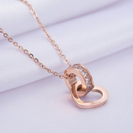 rose gold round pendant necklaces Australia - 2019 Womens Popular Birthday Gift Rose Gold Stainless Steel Heart Pendant Round Rhinestone Circle Charm Necklace