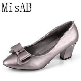 Block C Australia - Designer Dress Shoes Women Pumps High Heels Chunky Heels Block Heel Bow Office Lady Pointed Soft Faux Leather Classic Pumps Chaussure Femme