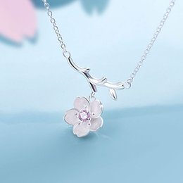 $enCountryForm.capitalKeyWord Australia - 925 Sterling Silver Sakura Flower Necklaces & Pendants Cherry Blossoms With Chain Choker Necklace Jewelry Collar Colar