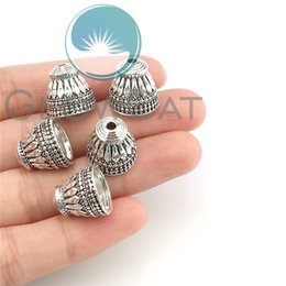 Pack of 10 Spiral Cone Bead Caps in Antique Silver cord ends