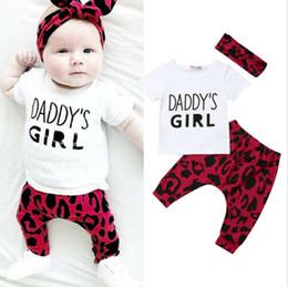 $enCountryForm.capitalKeyWord NZ - 2019 Brand Newborn Baby Kids Girl Leopard print Clothes Short Sleeve Letter Tops T-shirt+Harem Pants Headband Outfit 3Pcs