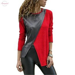 faux leather shirts NZ - Fashion Women Faux Leather Patchwork Color Block Irregular Long Sleeve T Shirt Drop Shipping Good Quality
