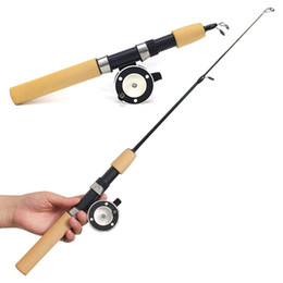 slip rod handle Canada - Winter Metal Fishing Reels Ice telescopic Fishing Rods Mini Flexible Elastic Carbon Bait Casting Rod Anti Slip Wood Color Handle