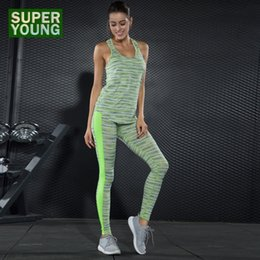 training tights women Canada - Sportswear Women Running Leggings Yoga Set Fitness Sports Jogging Suits Gym Wear High Waist Tights Training Clothes Clothing Set #565697