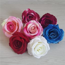 Wholesale 9CM colors Artificial Silk Rose Flower Heads DIY Decorative Flowers Party Decoration Wedding Arch Wall Flower Bouquet White Roses