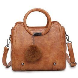 $enCountryForm.capitalKeyWord Australia - Women Pu Leather Bags Designer Handbags Female Brand Shoulder Bag Casual Fashion Handbag Popular Hair Ball Lady Messenger Bag Tote Bags