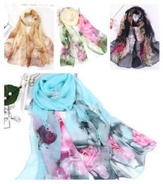 Flower beach towels online shopping - Fashion colorful flowers sunscreen scarves beach towel long ladies scarf Rayon gauze scarf cm cm T10C0010