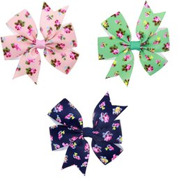 $enCountryForm.capitalKeyWord UK - 30Pcs 8CM Girls Flower Print Ribbon Bows Hairpin Baby Girls Handmade Boutique Hair Clip Barrettes Hairgrips Beautiful HuiLin DW130