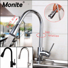 Discount brushed chrome kitchen mixer taps - Monite Nickel Brush Black Paint Chrome Finish Solid Brass Spring Kitchen Faucet Two Spouts Swivel Deck Mount Mixer Fauce