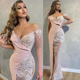 pale pink evening gowns NZ - Pale pink Prom Dresses Mermaid Off Shoulder Long Sleeves Appliques Lace Evening Dresses Party Gowns Vestidos Customized