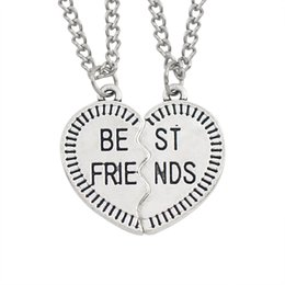 2 Piece Best Friends Forever Pendant Necklace Women Silver Broken Heart BFF  Friendship Necklace Jewelry Drop Shipping Collares 06a25c32e3d6