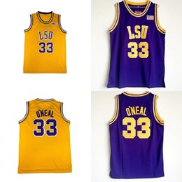 d8a05af1fb2 NCAA College Jersey LSU Tigers  33 Shaq O NEAL Basketball Jersey Blue Yellow  Stitched Men Jersey Free Shipping