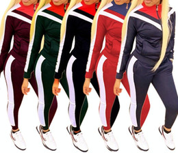 $enCountryForm.capitalKeyWord Canada - The new best selling European and American women's fashion casual suit color block stitching sports wind two-piece