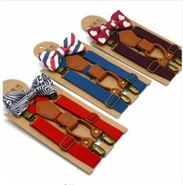 Discount matching ties set - Baby High Elastic Bow Ties Set Baby Boys Toddler Wedding Matching Braces Suspenders Bowknot Kids Gentle Bow Ties with Me