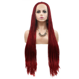 $enCountryForm.capitalKeyWord Australia - Box Braid Lace Wig Red Color Heat Resistant Fiber Synthetic Hair Glueless Box Braids Lace Front Braided Wigs For African American Women