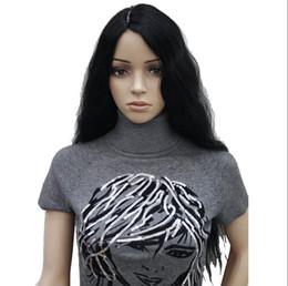Ingrosso Parrucca SPEDIZIONE GRATUITA Calda resistente al calore partito hairFashion No Bang natura onda capelli ricci donne nere parrucca lunga costume cosplay