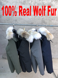 Wholesale mens green army style jackets resale online - Brand New Mens Real Wolf Coyote Fur Duck Down Thick Winter Warm Coat Canada USA style CHATEAU Parka Keep Warm degree Waterproof Jacket