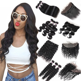 Burgundy Brazilian hair online shopping - 8 inch Brazilian Body Wave Bundles with Lace Frontal Peruvian Deep Wave Kinky Curly Human Hair Bundles with Closure Straight Closure