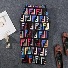 Knee length slips online shopping - 2019 New coming European Summer Women Pencil Skirt High Stretch Letter Graffiti Printed Midi Slip Hip Skirt Female Y19043002