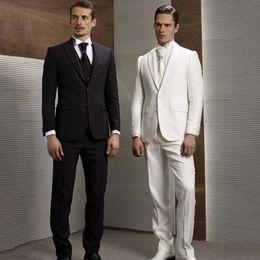 $enCountryForm.capitalKeyWord NZ - Black White Men Suits Wedding Suits Custom Groom Wear Tuxedo Blazer Jacket 3Piece Vest Pants Slim Fit Formal Best Man Costume Evening Party