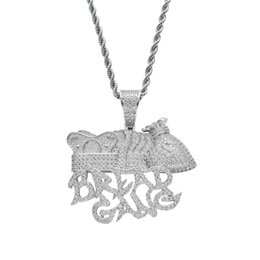 $enCountryForm.capitalKeyWord UK - Bread Gang Money Bag Crown Pendant Necklace Men Full Lab Diamond Gold Plated Necklace Hip Hop Copper Jewelly