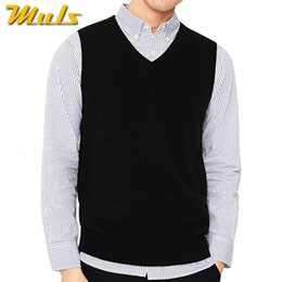 v neck sleeveless men cotton Australia - 4Colors Men Sleeveless Sweater Vest Autumn Spring 100% Cotton Knitted Vest Sweater Basic Male Classic V neck Tops 2018 New M-3XL MX191214
