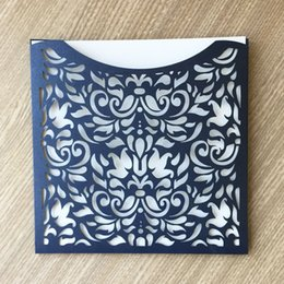 $enCountryForm.capitalKeyWord NZ - 50PCS  lot Chinese Traditional Style Hollow Laser Cut Wedding Invitation Cards With Colors Pearl Paper Ceremony Invitation Supplies