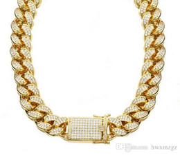 $enCountryForm.capitalKeyWord Australia - 18K Gold Filled18mm water diamond Cuban chain gold drill rough necklace 24'