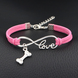 Bone hand Bracelet online shopping - Classic Pink Leather Suede Wrap Bracelets Bangles For Women Men Hand Charm Single layer Infinity Love Dog Bone Sporty Cuff Jewelry Gifts
