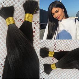 Indian Human Bulk Hair Straight Australia - Straight Bulk Hair For Braiding Hair No Wefts Indian Unprocessed Human Hair No Attachment 4 Bundles G-EASY