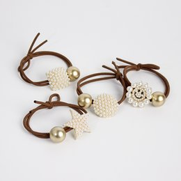 $enCountryForm.capitalKeyWord Australia - Ins pearl hair ring headdress sweet geometric smiley five-pointed star ball scalp scalp high elastic ponytail headdress