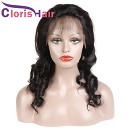 Discount mongolian curly braiding hair - Unprocessed Human Hair Lace Front Wig With Baby Hair Pre Plucked Brazilian Loose Wave Braided Wigs Full Density Curly Wi