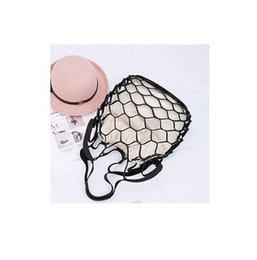 Mesh Fiber Australia - Hollow Out Mesh Design Women Handbag Canvas String Composite Bags Brand PU Leather Summer Beach Bags Holiday Women Tote