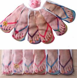 Wholesale ankle cut socks resale online - Adult Flip Flops Slippers Socks Unisex Sandals Novelty D Printed Sock women Print Socks Casual Flip Flop Sock Low Cut Ankle Socks KKA7875