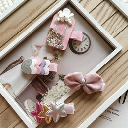 Wholesale 5sets New Baby Ice Cream Hair Clips Artificial Leather Love Heart Princess Headwear Kids Cute Hairpins New Baby Hair Accessories