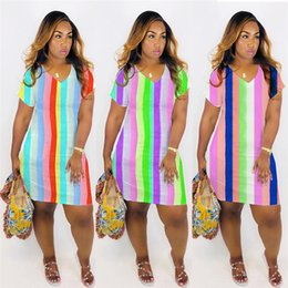 wholesale plus size clothes Australia - Women Plus Size Mini Dresses Striped Short Skirts Deep V-neck Long T-shirt Bodycon Summer Casual Clothes S-2XL HOT Selling NEW Arrivals 894