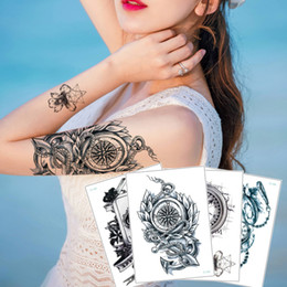 6e170888d Fake Black Clock Tattoo Time Flower Jewelry Necklace Design for Woman Man  Waterproof Temporary Body Art Tattoo Sticker Boy Girl Paper Health