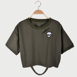 T Shirt Alien Australia - Summer Fashion European American Style Sexy Women T Shirt O Neck Short Sleeve crop tops 2019 fashion Alien Print loose Short tee