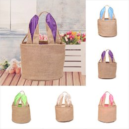 Wholesale DIY Easter Bunny Bucket Bag Jute Ear Storage Tote Hand Bags Burlap Children Gifts Cotton Handbags Rabbit Funny Design Free DHL