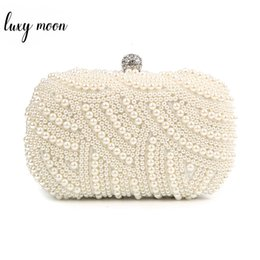 beige hand bag Australia - 100% Hand made Luxury Pearl Clutch bags Women Purse Diamond Chain white Evening Bags for Party Wedding black Bolsa Feminina SH190918