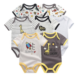 Baby Jumpsuit Wholesale Australia - Boy Newborn Unicorn Baby Girl Clothes Bodysuits Jumpsuit Clothing Sets Ropa Be 0-12m Short Sleeve 7pcs lot Q190520