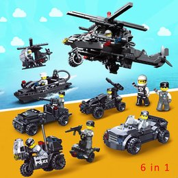 $enCountryForm.capitalKeyWord NZ - 6 in 1 Police Flying Tigers Pick-up Truck Yacht Motorcycle Helicopter Chopper Sports Car Super Car Building Block Brick Policeman Toy Figure