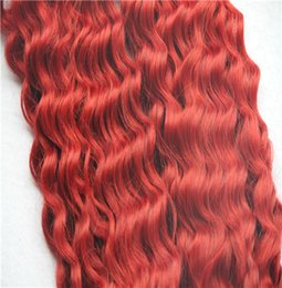 Discount remy red hair weave Red Color Brazilian Deep Wave Hair Weaving 100% Human Hair Weave Bundles M10-30 Inchs Non Remy Hair Extensions