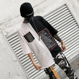 White Western shirt xl online shopping - New Western Style Fashionable Brands Length Irregularity Letter Printed Men s T Shirts Hip Hop Casual Male Tops Tees Streetwear