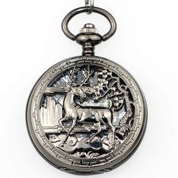 Best Skeleton Watches Men Australia - Best Vintage Silver Deer Mehcanical Pocket Watch Men Steampunk Hollow Skeleton Fob Hand Winding with Fob Chain Neckalce PJX1337