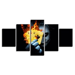 joker canvas print NZ - Cartoon Poker Cool Funny Cool Joker 5 Pcs Combinations HD Unframed Canvas Painting Wall Decoration Printed Oil Painting poster